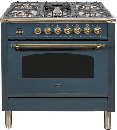 Ilve Nostalgie UPN90FDMPGU Freestanding Dual Fuel Range Blue Grey, Blue Grey Dual Fuel Range