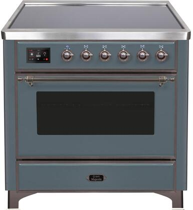 """UMI09NS3/BGB 36"""" Majestic II Series Induction Range with 5 Elements, 3.5 cu. ft. Oven Capacity, TFT Oven Control Display, Blue Grey with Bronze Trim"""
