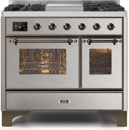 Ilve Majestic II UMD10FDNS3SSB Freestanding Dual Fuel Range Stainless Steel, UMD10FDNS3SSBNG-Front-CD-A