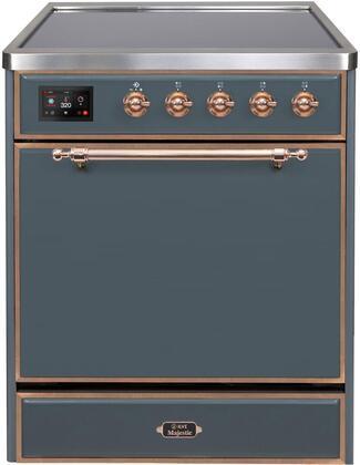 Ilve Majestic II UMI30QNE3BGP Freestanding Electric Range , Blue Grey Induction Range