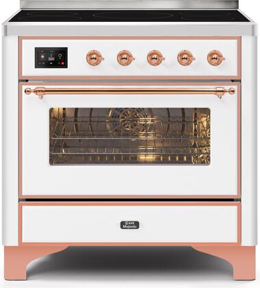 Ilve Majestic II UMI09NS3WHP Freestanding Electric Range White, UMI09NS3WHP-Front-CD-A