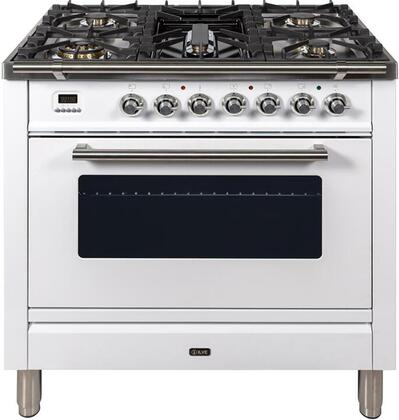 Professional Plus Series 36 Inch Gas Natural Gas Freestanding Range in White with Chrome Trim