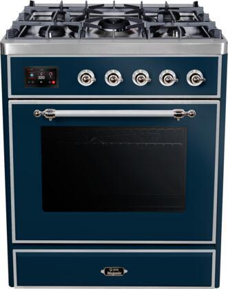 Ilve Majestic II UM30DNE3MBCLP Freestanding Dual Fuel Range Blue, UM30DNE3MBCLP-Front-CD-A