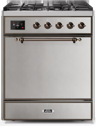 Ilve Majestic II UM30DQNE3SSB Freestanding Dual Fuel Range Stainless Steel, UM30DQNE3SSBNG-Front-CD-A