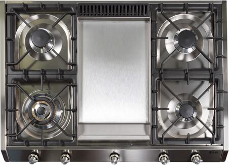"""UHP965FDILP 36"""" Professional Liquid Propane Cooktop with 5 Brass Burners, Flame Failure Safety Device, Griddle, Electronic Ignition, Stainless Steel Control Knobs, and Cast Iron Grates: Stainless Steel"""