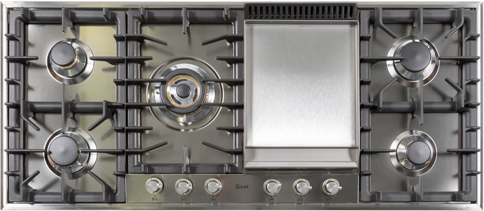 "UHP125FC/I 48"" Gas Cooktop with 6 Sealed Brass Burners, Griddle, Cast Iron Heavy Duty Grates, Deep Recessed Spill Trays, in Stainless Steel"