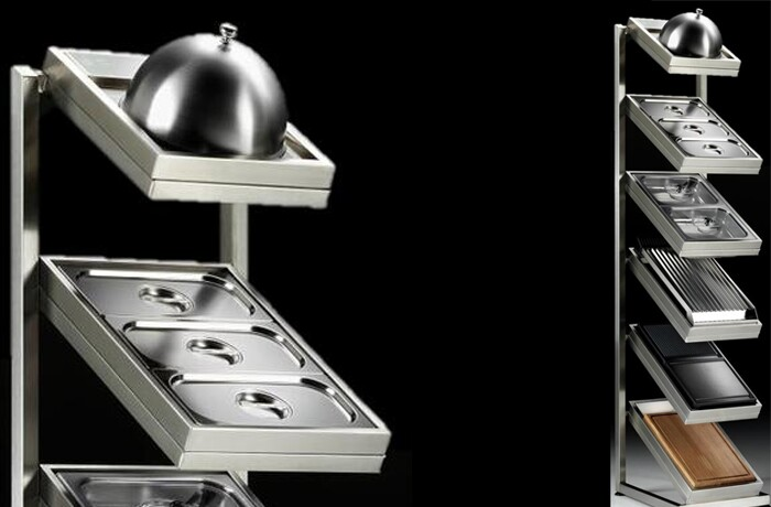 EOPT0001 Accessory Pack and Display Stand with Bain-Marie, Steam Cooker, Steak Pans, Chopping Board, BBQ Grill, and Griddle Dome